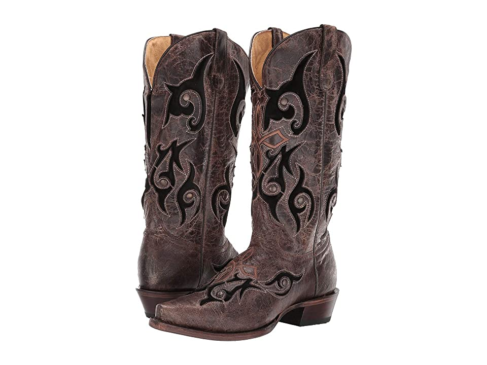 Roper Velvet Baby Flextra (Waxy Brown Vamp & Shaft/Black Velvet Inlay) Cowboy Boots