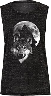Hawling Wolf Silhouette on The Moon Women's Muscle Tank Wolf Full Moon Tee