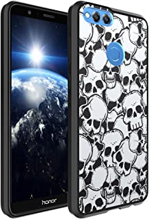 Huawei Honor 7X Case, Capsule-Case Hybrid Slim Hard Back Shield Case with Fused TPU Edge Bumper (Black) for Huawei Honor 7X - (Skull)