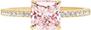 1.66ct Brilliant Asscher Cut Solitaire with Accent Pink Simulated Diamond Ideal VVS1 Engagement Promise Anniversary Bridal Wedding Ring Real 14k Yellow Gold