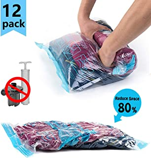 Compression Travel Storage Bags,12 Pcs (Small×4,Large×4,Jumbo×4) Roll Up Reusable Travel Space Saver Vacuum Storage Bags for Clothes,Organizing,Luggage,Suitcase,No Vacuum or Pump Needed,by Aimary-tech