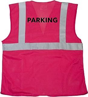 JORESTECH High Visibility Custom Heat Transfer Printed Reflective Safety Hi Vis Vest (Pink) (Small to Medium, Parking)