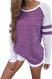 Vonda Camisa Manga Larga para Mujer Blusas Manga Larga Elegante Camiseta Larga Rayas Casual Túnica Tops Jersey Largo
