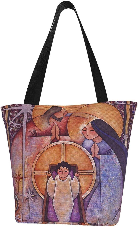 Christian Bless Holy Birth Jesus Vintage Themed Printed Women Canvas Handbag Zipper Shoulder Bag Work Booksbag Tote Purse Leisure Hobo Bag For Shopping