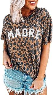 Camiseta de manga corta con estampado de leopardo para mujer
