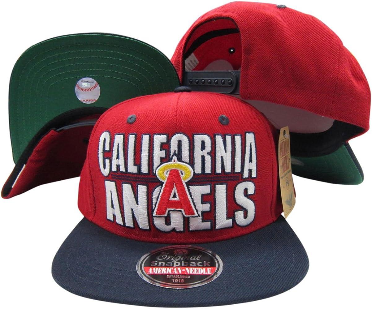 California Angels Block Two Tone Plastic Snapback Adjustable Plastic Snap Back Hat/Cap Red