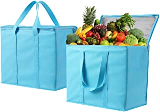 2 Pack Insulated Reusable Grocery Bag by VENO, Durable, Heavy Duty, Extra Large Size, Stands Upright, Collapsible, Sturdy Zipper, Made by Recycled Material, Eco-Friendly (Cyan, 2)