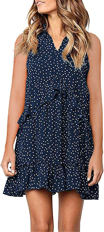 Summer supreme Dresses for Women dot Print v-Neck Sleeveless Cu trend rank Straight