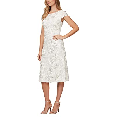 Alex Evenings Tea Length A-Line Rosette Dress (Ivory/Gold) Women