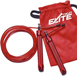 Train Elite 1.2 LB Heavy Weighted Handles Adjustable Locking System Fitness Strength Cable Jump Rope for Men Women Workout with Heavy Jumprope Crossfit Training Speed Boxing Ropes with Weights