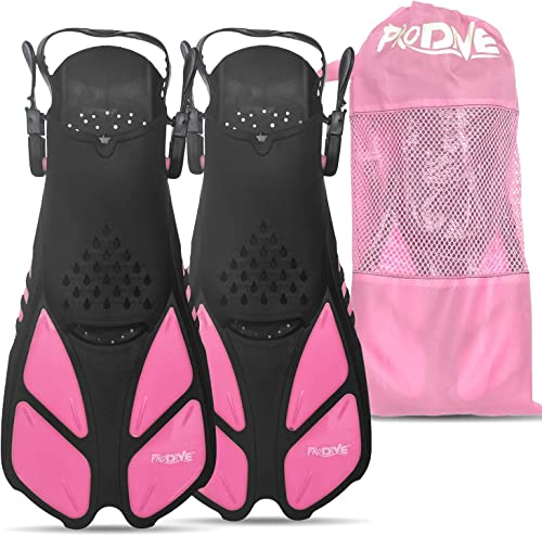 discount PRODIVE Snorkel and Swim Fins – Adjustable Open-Heel, Short-Blade Snorkeling and Diving Flippers Add Efficiency discount to Swimming and Diving – outlet online sale Sizes to Fit Men, Women and Kids – Compact and Great for Travel outlet sale