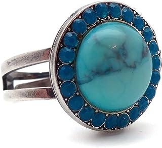 Mariana Zambezi 施华洛世奇水晶银色环圆形水蓝色矿物石带加勒比蓝色