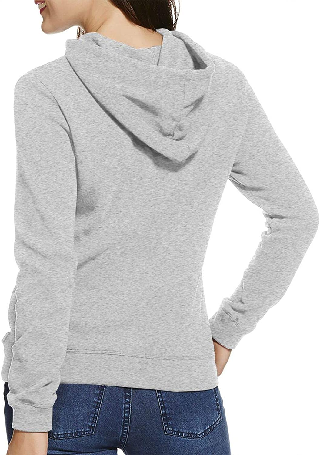 Gun American Flag Fashion Pullover Hoodie Women's Long Sleeve Round Neck Hooded Sweatshirt Gray