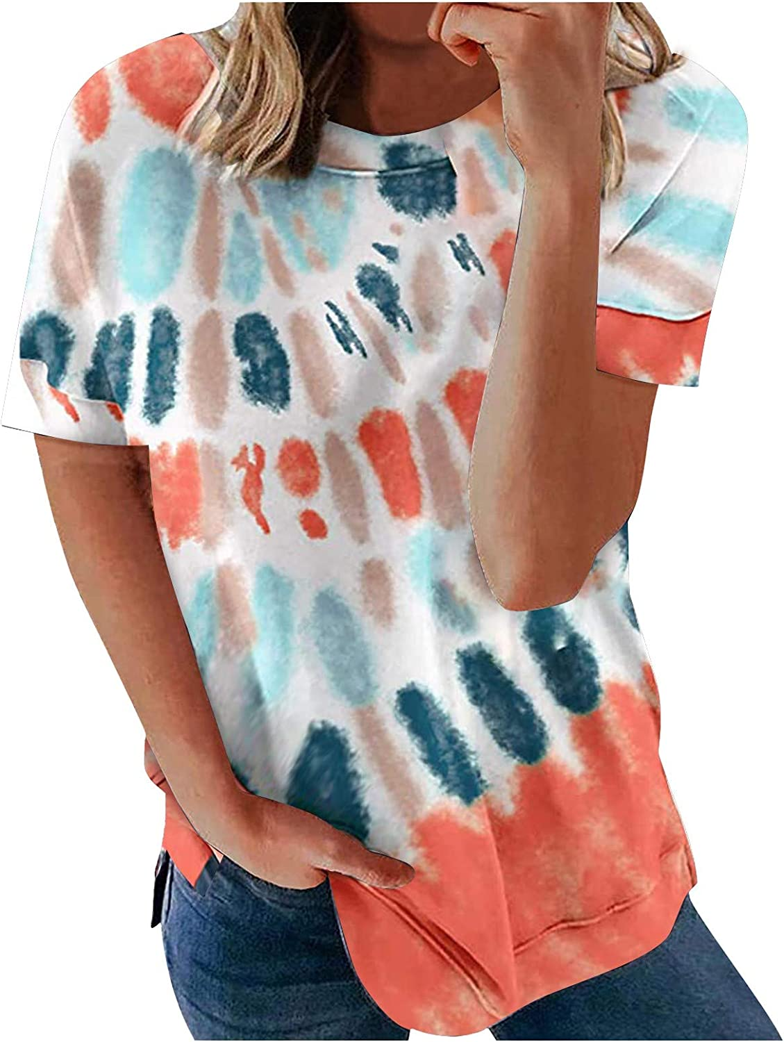 FABIURT Summer Tops for Women,Womens Casual Comfort Tie Dye Printed Short Sleeve O-Neck T Shirts Loose Blouses Tunic Top