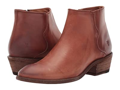 Frye Carson Piping Bootie (Cognac Waxed Pull) Women