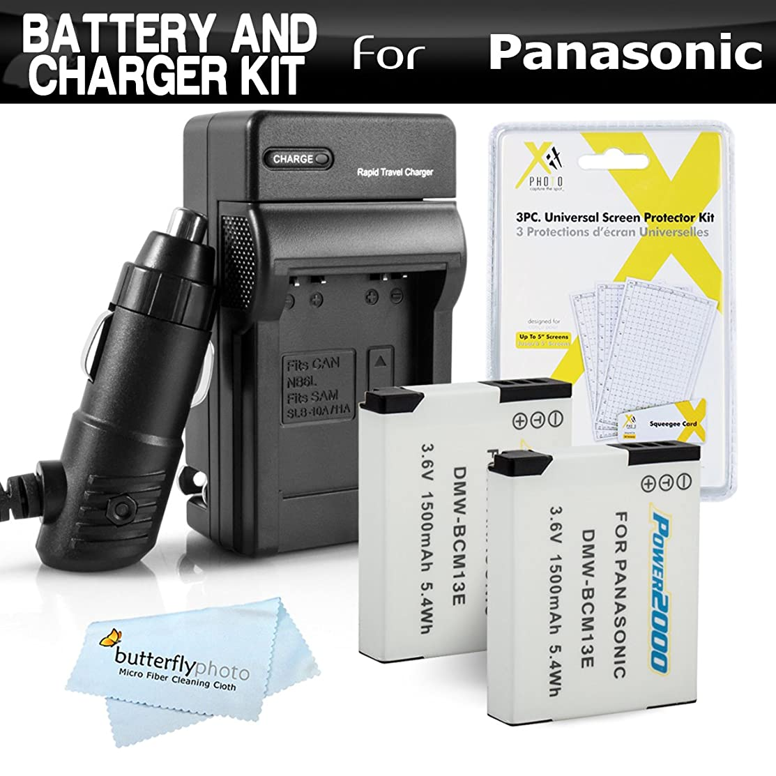 2 Pack Battery and Charger Kit for Panasonic Lumix ZS50, DMC-ZS45K, DMC-ZS40K, DMC-ZS40S, DMC-ZS35K, DMC-LZ40, DMC-LZ40k Includes 2 Replacement DMW-BCM13E Batteries + Charger + More