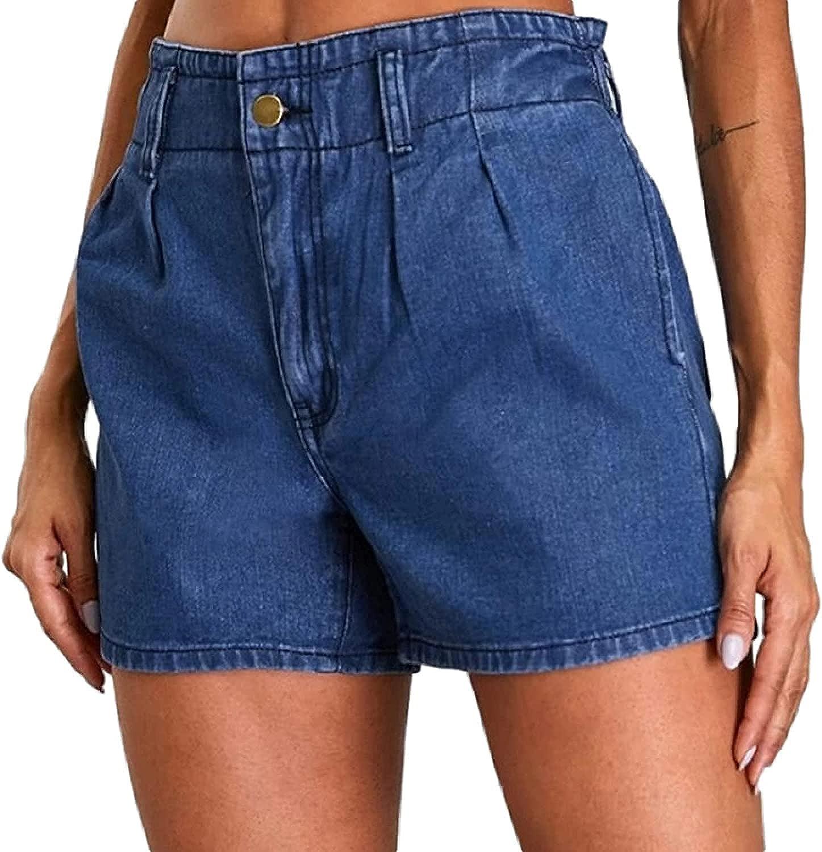 Women's Denim Shorts Fashion Mid-Waist Classic Regular Washed Straight Denim