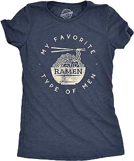 Crazy Dog T-Shirts Womens My Favorite Type of Men is Ramen T Shirt Funny Dad Joke Hilarious Sarcasm, Heather Navy, Small