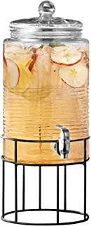 Style Setter Beverage Dispenser Cold Drink Dispenser Glass Jug, Metal Stand & Leak-Proof Acrylic Spigot Great for Parties, Weddings & More (Covina)