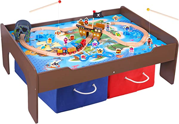 Pidoko Kids Pirate Theme Train Table And Wooden Train Set 72 Pcs Espresso Table With Double Sided Board For Other Activity Play Includes 2 Storage Bins