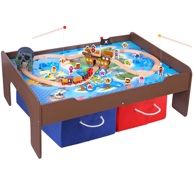 Pidoko - Juego de Mesa y Tren de Madera para niños con temática Pirata (72 Piezas) - Mesa de Espresso con Tabla de Doble Cara para Otras Actividades: Amazon.es: Juguetes y juegos