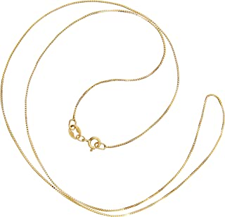 14K Yellow Gold Box Link Chain Necklace   14 Inch to 22 Inch Lengths Available   .60mm to 1.0mm Thick