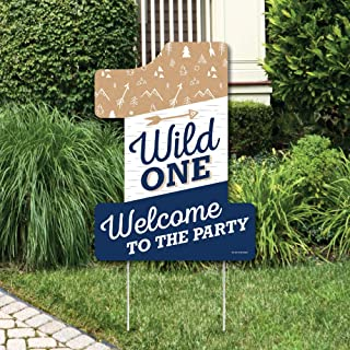 Big Dot of Happiness He's a Wild One - Party Decorations - 1st Birthday Party Welcome Yard Sign