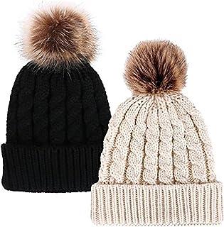 Fankeshi Winter Knit Hat Womens Girls Knit Beanie Hat Bobble Ski Cap Beanies
