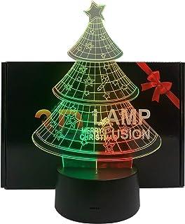 Lampe à Illusion 3D Arbre de Chirstmas Nuit Lumière pour Garçons Filles Lampe de Bureau Changement de Couleur Lampe Décora...