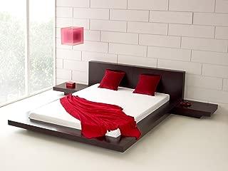 Fujian Modern Platform Bed + 2 Night Stands Queen (Espresso)