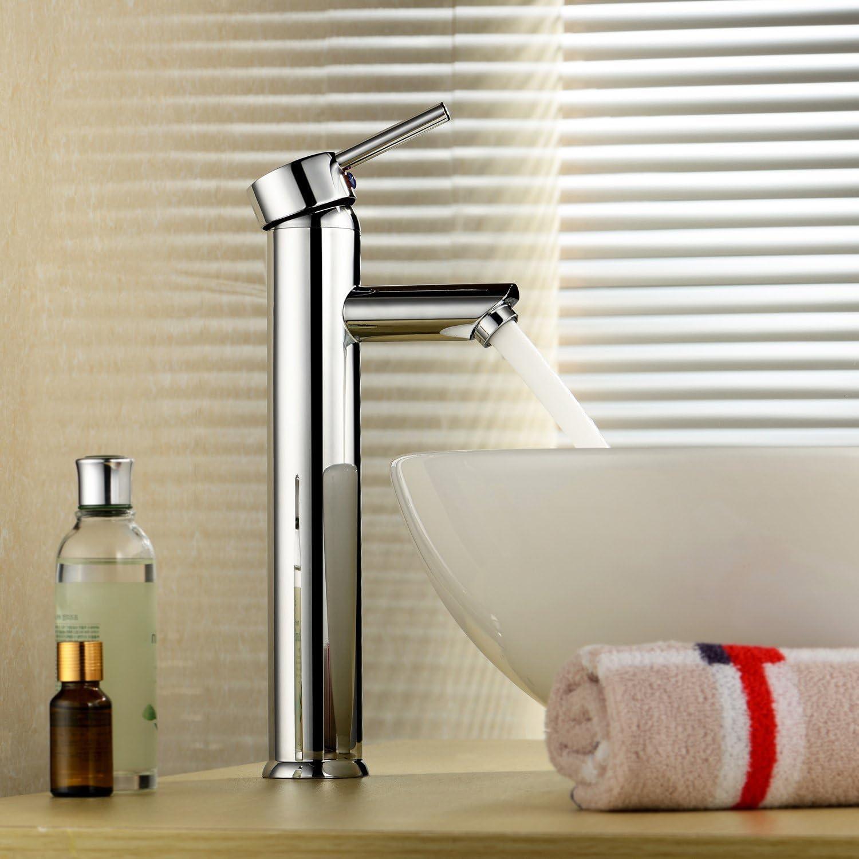 Inchant - Grifería monomando para lavabo moderno, lavabo alto, lavabo, fregadero, lavabo, solo agujero, lavabo, lavamanos grifería de latón cromado, montaje en plataforma