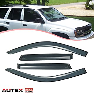 AUTEX Tape On Window Visor Deflector Fits for 2002 2003 2004 2005 2006 2007 2008 2009 Chevy Trailblazer Rain Guard