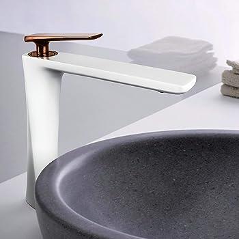 Unique Design White Bathroom Basin Vessel Sink Vanity Mixer Faucet 1 Hole Taps