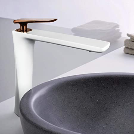 White+Gold Waterfall Bathroom Sink Faucet Single Handle Hole Vanity Mixer Tap