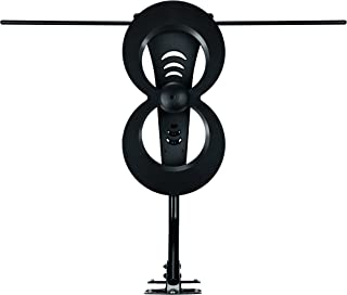 Antennas Direct Clearstream 2Max TV Antenna, 60+ Mile Range, UHF/Vhf, Multi-Directional, Indoor/Outdoor, Base Stand, Mast W/Pivoting Base/Hardware/Adjustable Clamp/Sealing Pads, 4K, Black – C2MVJ-5