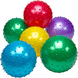 Bedwina Knobby Balls - (Pack of 6) Bulk 7 Inch Sensory Balls and Spiky Massage Stress Balls, Fun Bouncy Ball Party Favors for Kids, Toddlers
