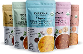 Khazana Organic Gourmet Indian Food - Ready to Eat Indian Dinner in 90 Seconds, Prepared Microwave Meals, Gluten Free, Non-GMO, Vegan, Kosher. 5 Pack Variety, 10oz