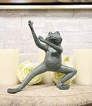 Ebros Gift Verdi Green Aluminum Metal Whimsical Tai Chi Kung Fu Frog Garden Statue Zen Feng Shui Martial Arts Frogs Home Garden Patio Pool Decorative Sculpture (Horse Stance)