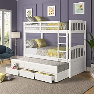 Harper & Bright Designs Solid Wood Bunk Beds for Kids, Hardwood Twin Over Twin Bunk Bed Frame with Trundle and Storage Drawers,White