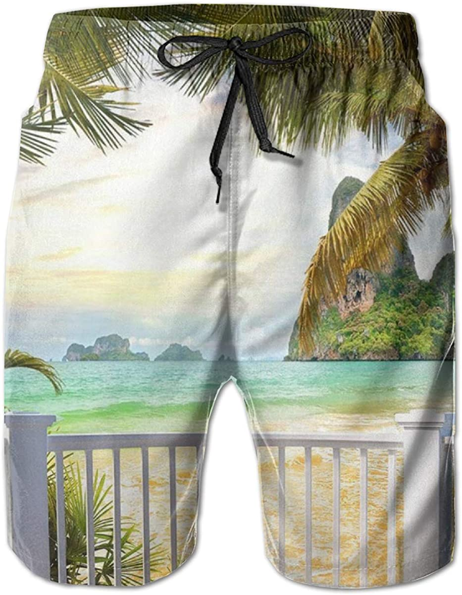 Mens 100% Polyester Palm Trees Mountain Be OFFer Scene Beautiful Ranking TOP17 Ocean