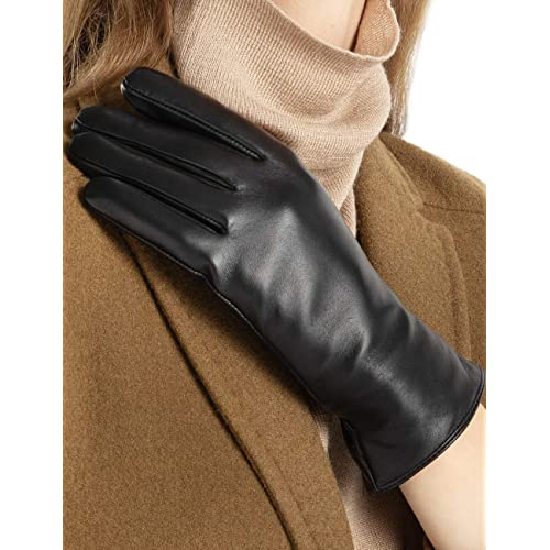 fad0968e0506e Super-soft Leather Winter Gloves for Women Full-Hand Touchscreen Warm Cashmere  Lined Perfect