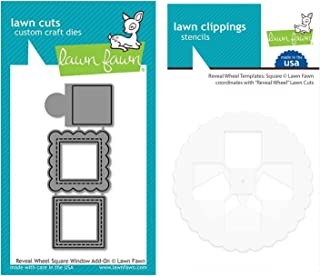 Lawn Fawn Reveal Wheel Square Window Add-on Dies and Coordinating Template, Bundle of 2 Items (LF2171, LF2172)