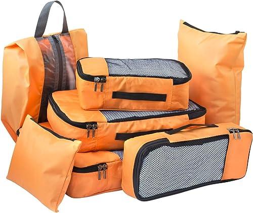 Polyester Bag Organizers Set Of 7 Orange 600125SWBGA1