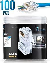 RJ45 Cat6 Pass Through Connectors 100 pcs | EZ Crimp Connector UTP Network Plug for Unshielded Twisted Pair Solid Wire & Standard Cables | Transparent Passthrough Ethernet Insert