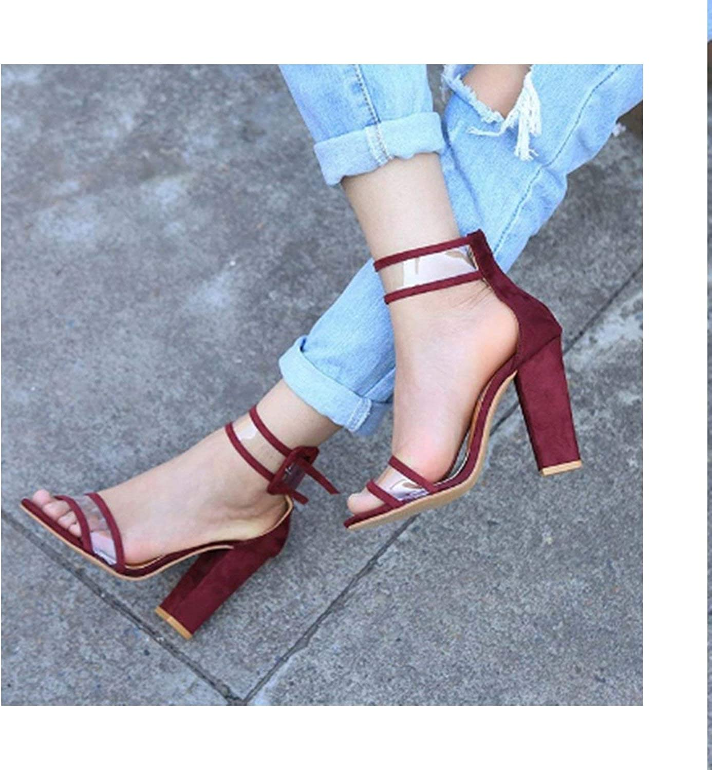 HANBINGPO New PVC Women Platform Sandals Super High Heels Waterproof Female Transparent Crystal Wedding shoes Sandalia Feminina Plus 43,Wine Red,8