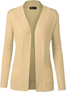 Women's Open Front Long Sleeve Classic Knit Cardigan Khaki Large