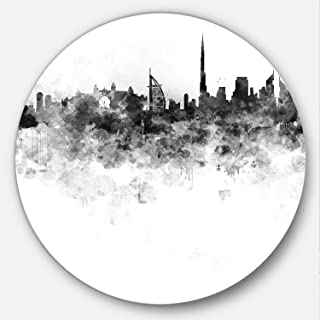 Designart Dubai Skyline Cityscape Round Wall Art- Disc of 38 inch, 38x38-Disc, Purple/Yellow/Red/Pink