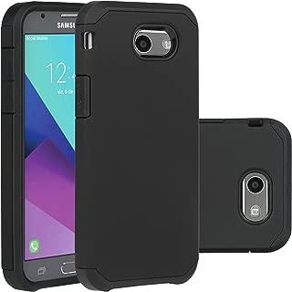 Samsung Galaxy J3 Emerge Case/J3 Prime /J3 2017 /Amp Prime 2 /Express Prime 2 /Sol 2 /J3 Luna Pro /J3 Eclipse /J3 Mission Case, LUHOURI Hybrid Armor Rugged Defender Protective Case Cover Black