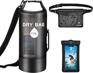 SYOSIN Waterproof Dry Bag 10L + Phone Pouch + Bum Bag Set of 3, Lightweight Foldable Floating Backpack with Adjustable Sho...