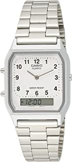 Casio Unisex-Adult Quartz Watch, Analog-Digital Display and Stainless Steel Strap AQ-230A-7B